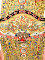 A Chinese embroidered silk ceremonial armour covering, 19th century