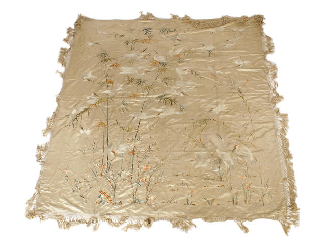 A large Chinese embroidered bedspread, late 19th century