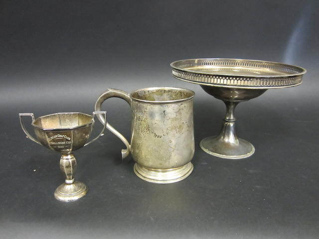 Silver pedestal bowl, mug and cup