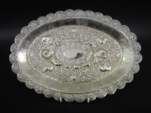 An Indian white metal platter