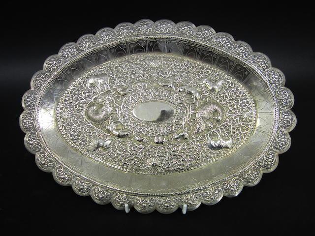 An Indian white metal platter