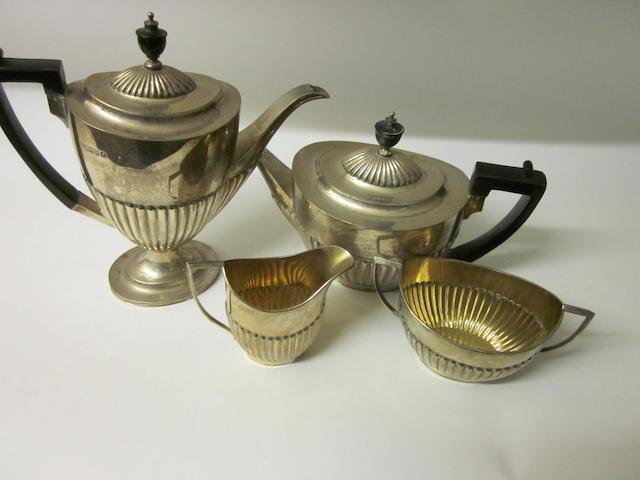 A four piece matching silver tea service,  by Goldsmiths and Silversmiths Co. Ltd, Sheffield 1901, London 1901,  (4)