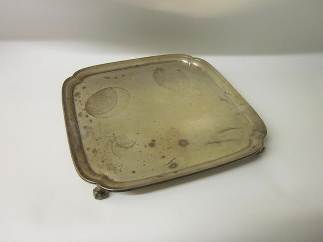 A square silver salver, Sheffield 1933,