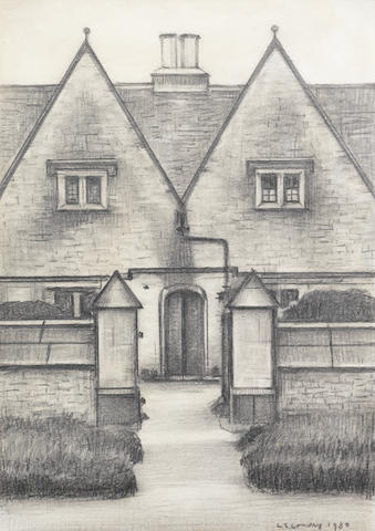 Laurence Stephen Lowry R.A. (British, 1887-1976) Almshouses At Northleach 26.5 x 18.5 cm. (10 5/8 x 7 1/4 in.)