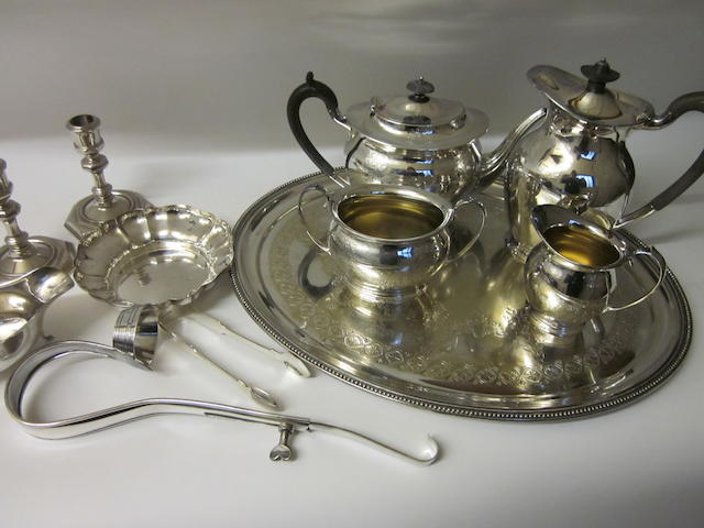 An electroplated four piece tea service,   (Qty)