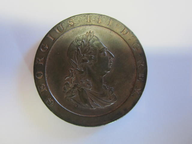 George III, Penny, 1797, laureate head right,