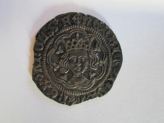 Henry VI (1422-61), first reign (1422-61), rosette mascle issue (1427-30), Halfgroat, 1.74g, Calais, (N.1448; S.1862).