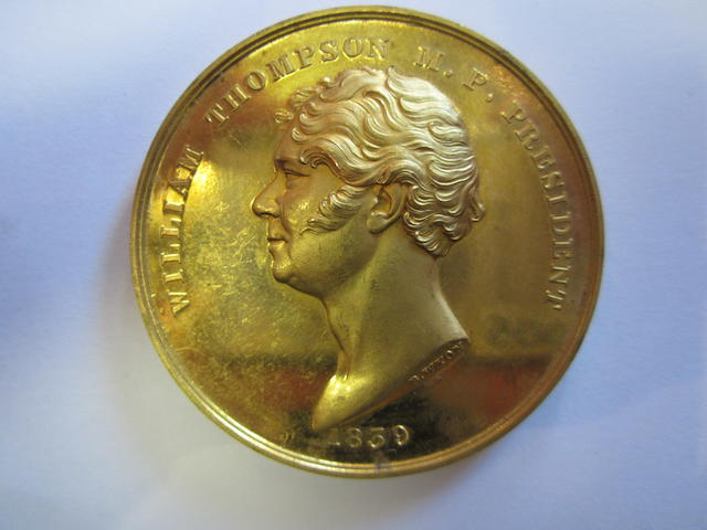 Christ's Hospital Mathematical Prize Medal, Gold medal by B.Wyon, 41mm diam., William Thompson M.P. President, bust facing left, date 1839 below,