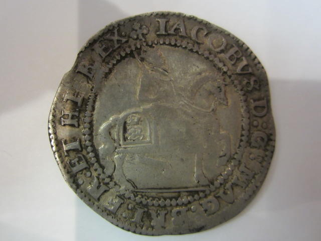 James I, Silver half-crown, 3rd coinage. Bird headed harp on reverse. Mint mark trefoil, 1624. (S.2666).