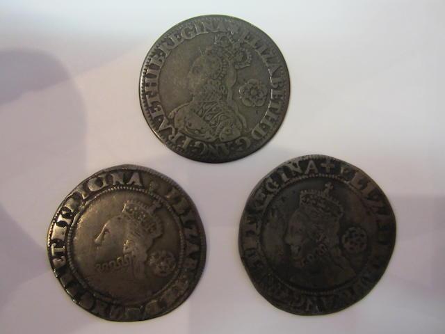Elizabeth I, Silver milled sixpence 1562, mint mark star. S.2595. Hammered sixpence 1573, mint mark acorn, 1578, mint mark Greek cross.