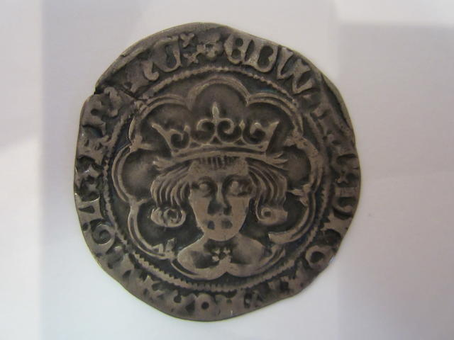 Edward IV 2nd reign (1471-83), Silver groat, London, rose on breast, mint mark heraldic cinquefoil 1480-03. S.2100.