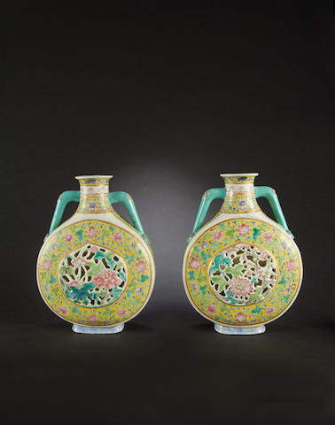 A pair of famille rose pilgrim flasks Daoguang six-character seal marks