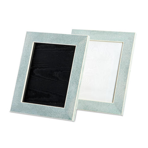 A pair of stained green shagreen photograph frames