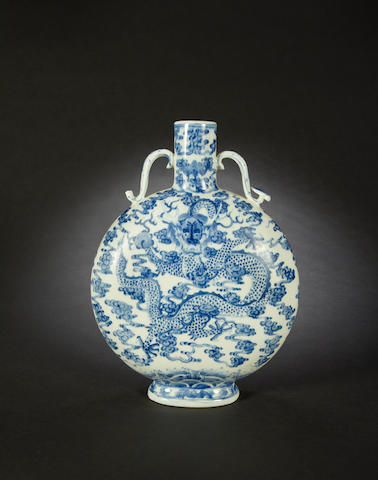 A blue and white moonflask Qianlong six-character seal mark