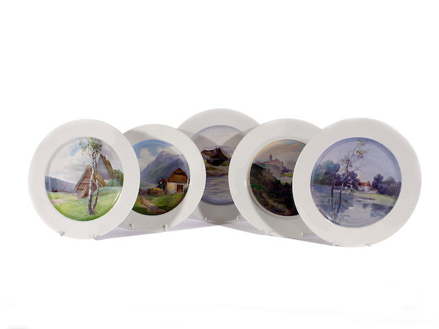 Five Meissen topographical plates, 20th century