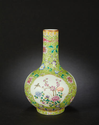 A famille rose globular vase Qianlong six-character seal mark