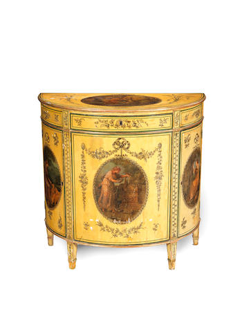 A George III cream painted and polychrome decorated parcel gilt demi-lune commodein the manner of George Brookshaw, after Angelica Kauffmann