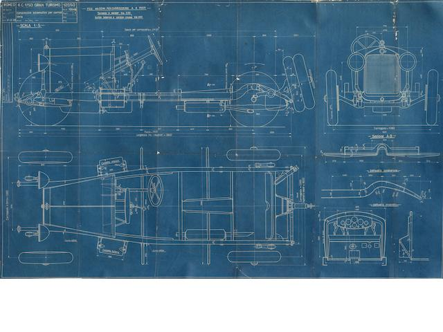 An Alfa Romeo 6C 1750 Gran Tourismo blueprint, 1929,