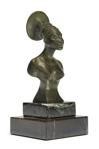 A fine 'Princess Mangbetu' mascot by Alexandre Caron (1857-1932), French, circa 1925,