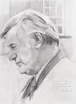 HUGHES, TED (1930-1998), PORTRAIT BY PETER EDWARDS (b. 1955), WITH THE ORIGINAL PENCIL DRAWING, [c.1993] (2)