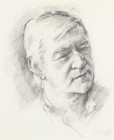 MITCHELL, ADRIAN (1932-2008) PORTRAIT BY TOM PHILLIPS R.A., [1987]; AUTOGRAPH OF A FOUR-LINE VERSE ADDRESSED TO LAURIE LEE (2)