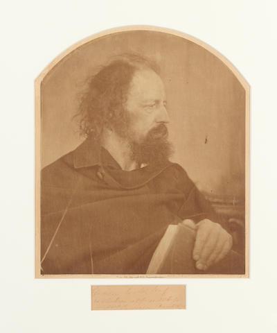 TENNYSON, ALFRED (1809-1892), PORTRAIT BY JULIA MARGARET CAMERON, 1865, inscribed 1875