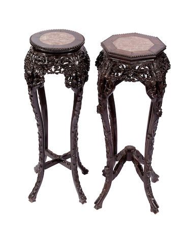 Two Chinese carved hardwood jardinere stands