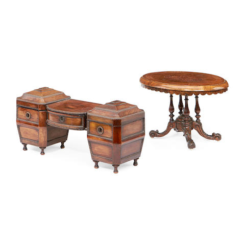 A Victorian rosewood tea caddy modelled as a pedestal sideboard together with a Victorian miniature breakfast table