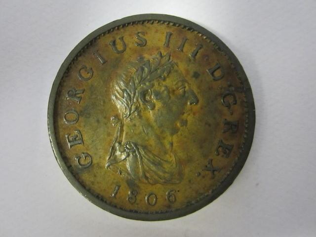 George III, Penny, 1806. Halfpenny, 1772, 1799, 1807. Farthing, 1799, 1806.