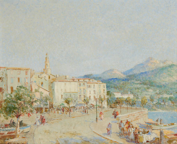 William Lee Hankey, RWS, RI, ROI, RE (British, 1869-1952) Menton from the sea wall
