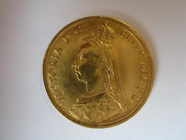 Victoria, Two Pounds, 1887; Sovereign, 1880.