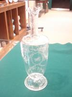 A glass ewer and matching carafe engraved with the Campbell crest 19th century