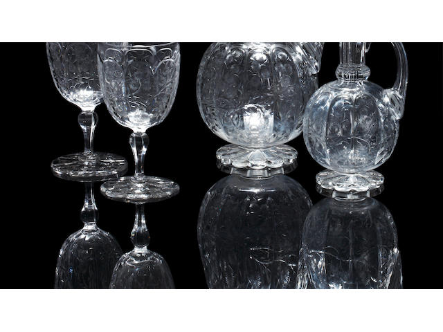 A comprehensive and impressive suite of Stourbridge 'rock crystal' glass, probably Stevens and Williams, circa 1870-80