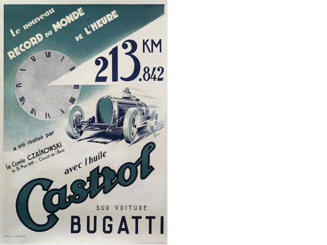 A Castrol Bugatti Hour Speed World Record successes poster, 1933,