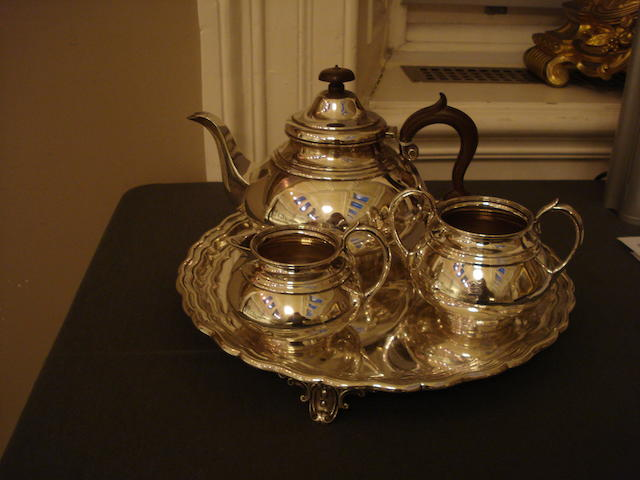 A four piece silver tea service by Martin Hall & Co Ltd, Sheffield 1925/26