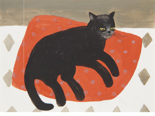 Mary Fedden R.A. (British, 1915-2012) Black cat on red mat