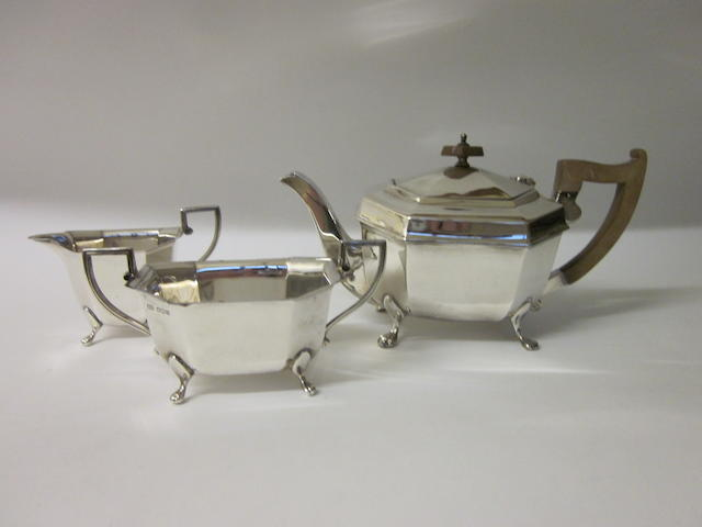 A three piece silver tea service,  by E Viner Sheffield 1936,   (3)