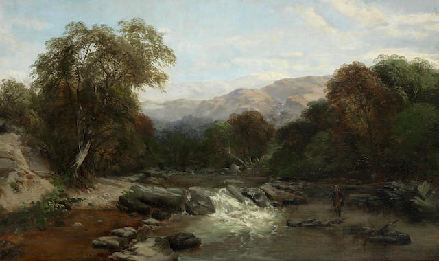 James Peel (British, 1811-1906) A fly fisherman