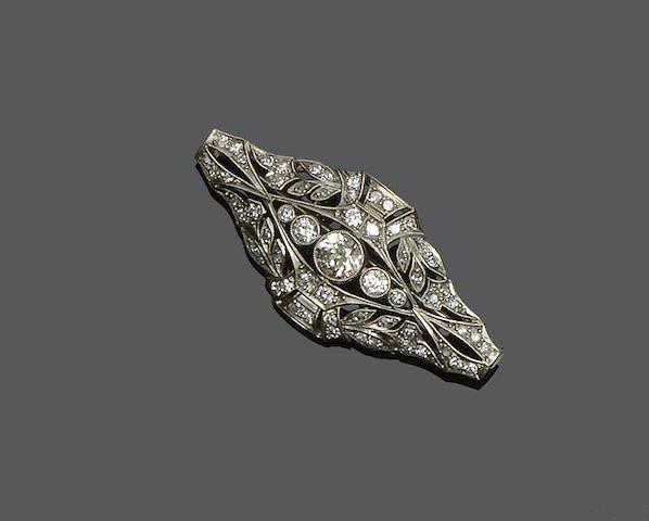 A diamond panel brooch,
