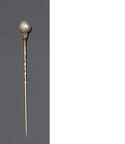 A pearl and diamond stickpin