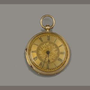 An 18ct gold open faced pocket watch