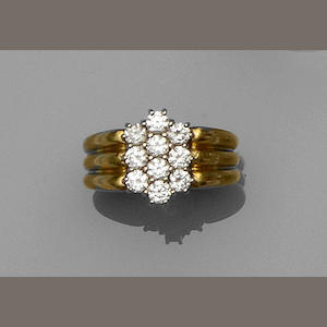 An 18ct gold diamond cluster dress ring