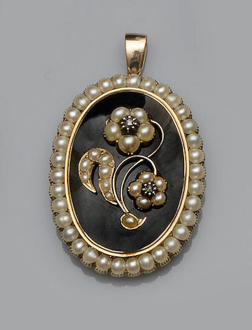 A 19th century half pearl, diamond and enamel mourning pendant