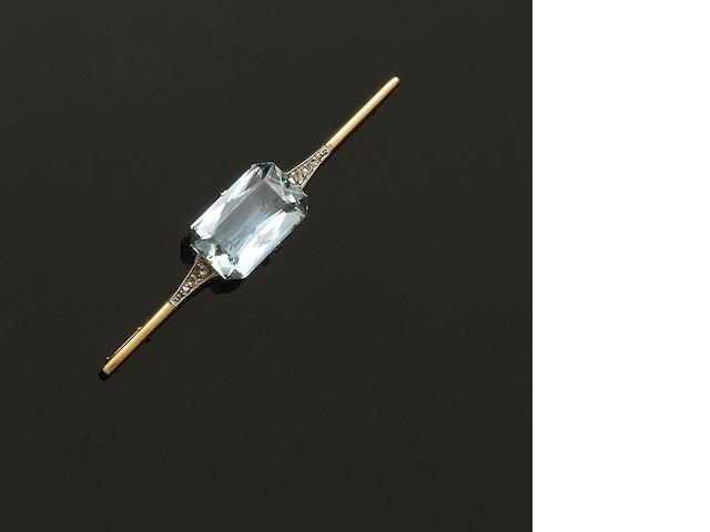 An aquamarine and diamond bar brooch