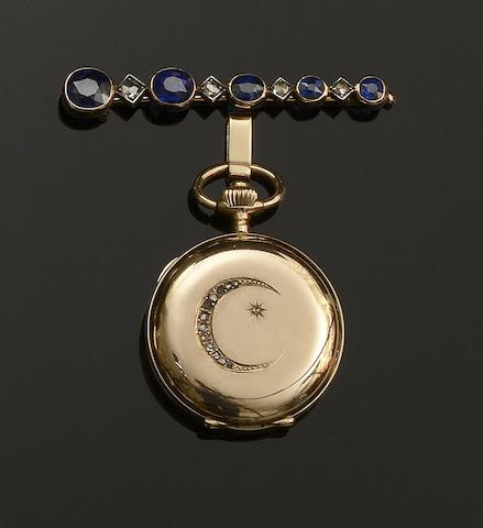 A sapphire and diamond bar brooch and a diamond set hunter fob watch  (2)