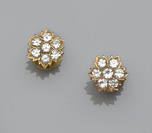 A pair of diamond cluster dress studs