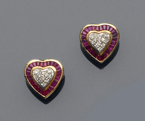 A pair of ruby and diamond earstuds