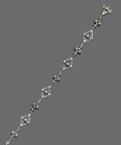 A diamond and cultured pearl bracelet