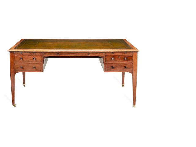 A Victorian mahogany partner's kneehole writing table