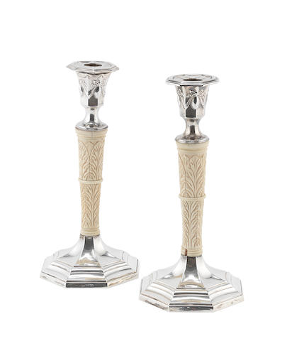 An unusual pair of silver and ivory candlesticks by Joseph Rogers & Sons Sheffield 1897  (2)